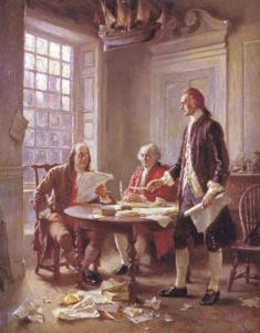 Franklin, Adams & Jefferson working in committee